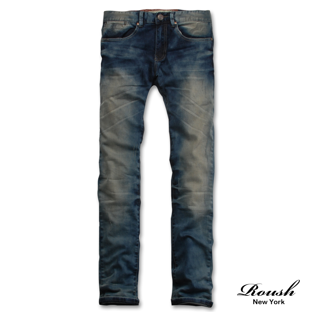 【 Roush 】洗舊感格紋內裡牛仔褲