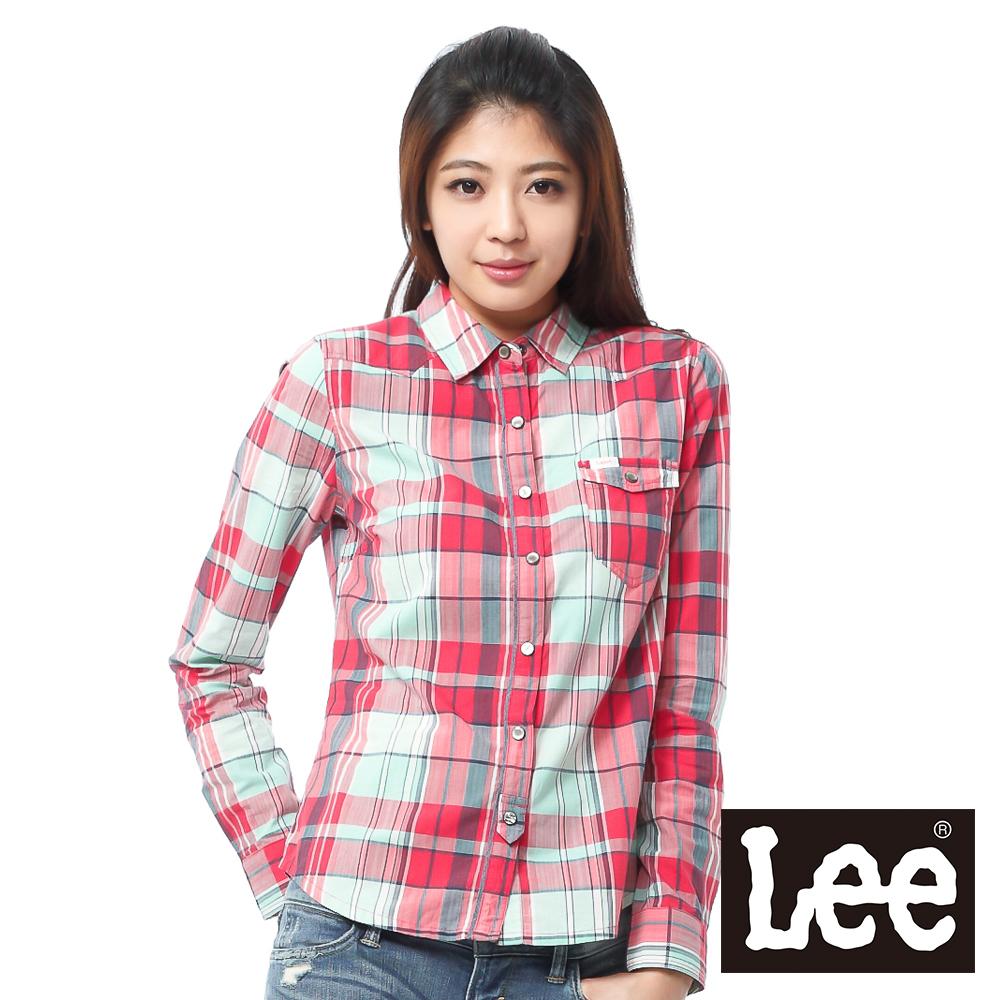 Lee 長袖襯衫 帥氣牛仔造型-女款(紅綠格紋)