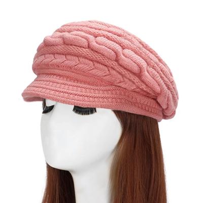 幸福揚邑 麻花針織毛線帽防風保暖加絨貝蕾帽兔毛帽-粉紅