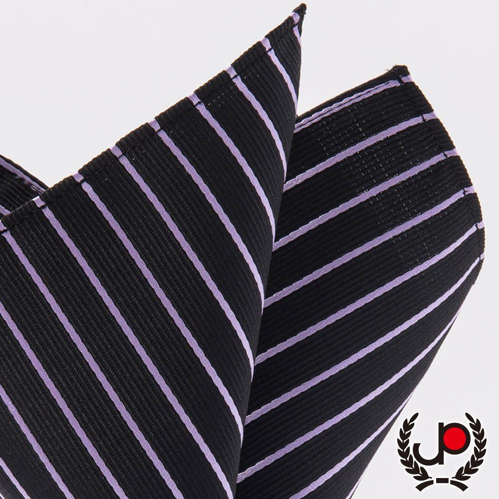 極品西服 黑底紫提條口袋方巾(YH5007)