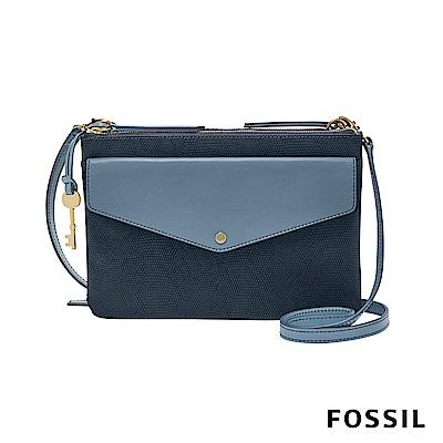 FOSSIL  DEVON 多夾層口袋包-霧藍(蜥蜴壓紋)