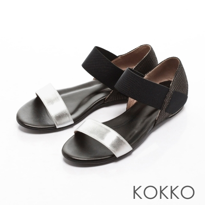 KOKKO經典手工不敗線條真皮內增高懶人涼鞋銀