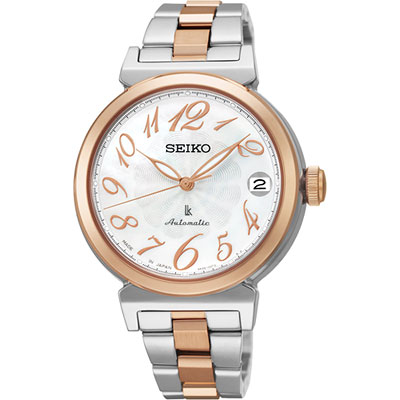 SEIKO LUKIA 經典機械錶(SRP872J1)-白貝x雙色版/33mm