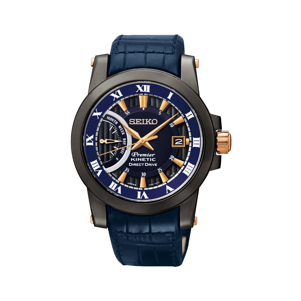 SEIKO Kinetic 互動式人動電能時尚腕錶(SRG012J1)-藍/42mm