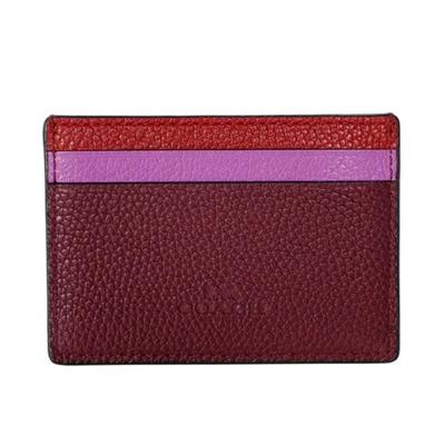 COACH紅紫撞色荔枝紋全皮雙面名片/票卡夾COACH