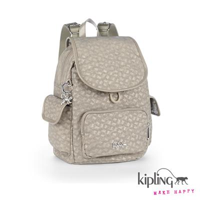 Kipling-時尚灰快樂猴紋理後背包