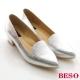 BESO 耀眼女孩 全牛皮金箔尖楦粗跟鞋 銀