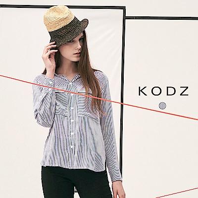 東京著衣-KODZ 歐美率性時尚條紋雙口袋設計襯衫-S.M.L(共一色)
