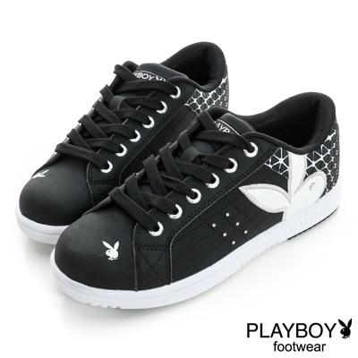 PLAYBOY-玩色旋風-幾何圖案壓紋板鞋-黑-女
