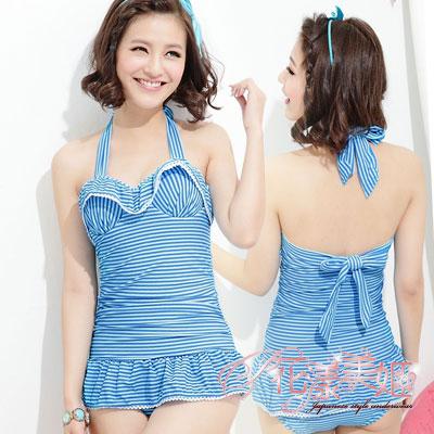 花漾美姬‧水舞婀娜*金青春條一件式鋼圈泳衣(藍)