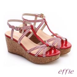 effie 摩登美型 鏡面真皮海軍風繞踝楔型涼鞋 紅