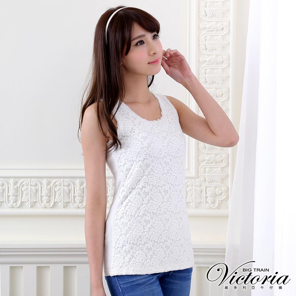 Victoria 彈性蕾絲背心-女-米白