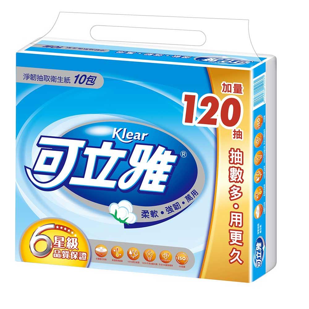 可立雅淨韌抽取衛生紙90+12抽(10包x10串/箱)