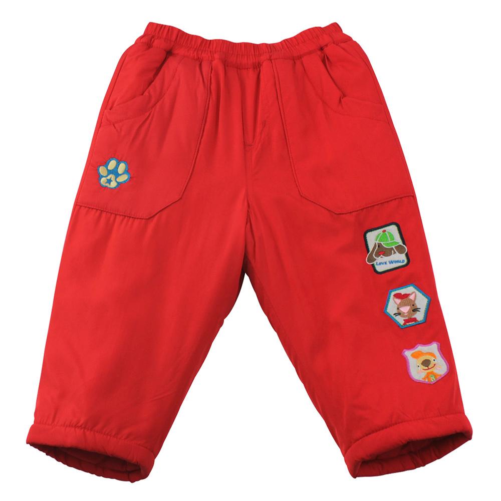 愛的世界 MYBEAR 動物圖標防風舖棉鬆緊帶長褲/3-4歲-中國製-