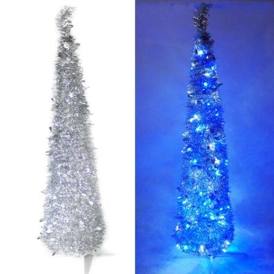 180cm彈簧摺疊銀色哈利葉瘦型聖誕樹(LED100燈-藍白光)