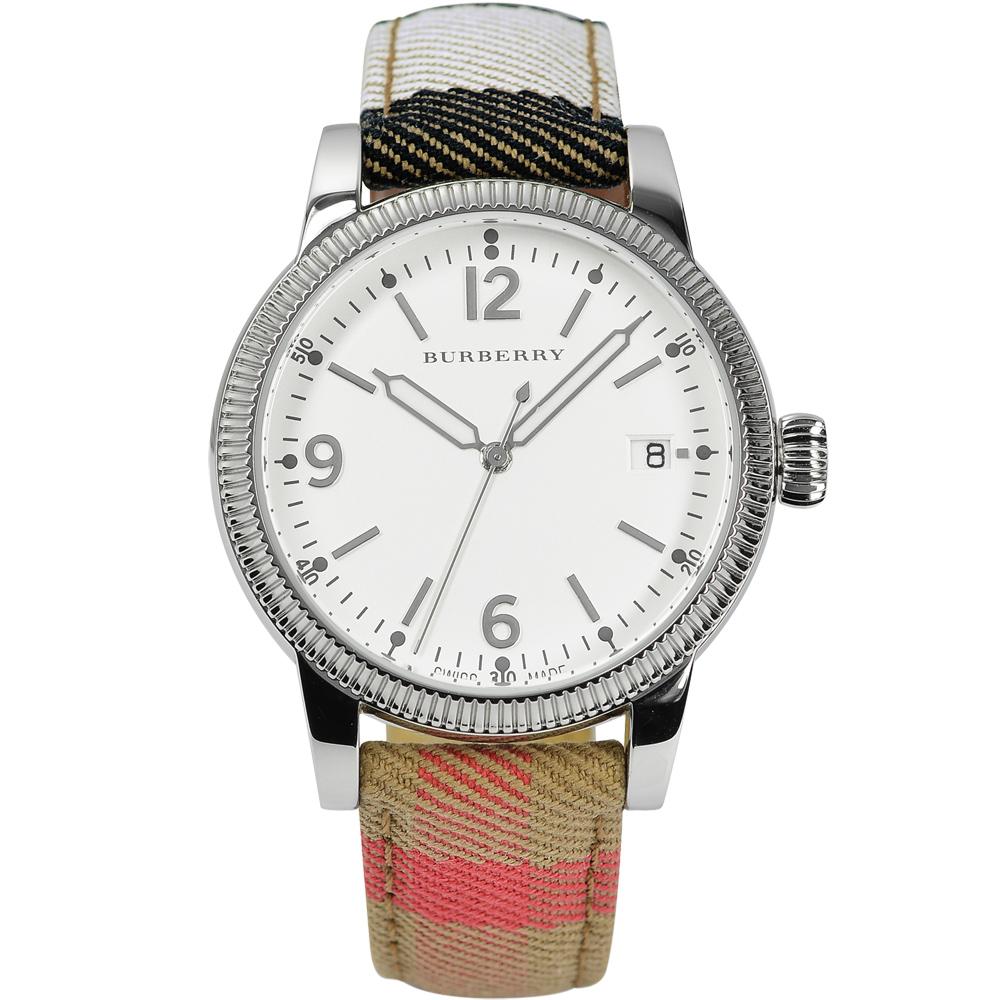 BURBERRY The Utilitarian 飛行腕錶-白x格紋錶帶/38mm