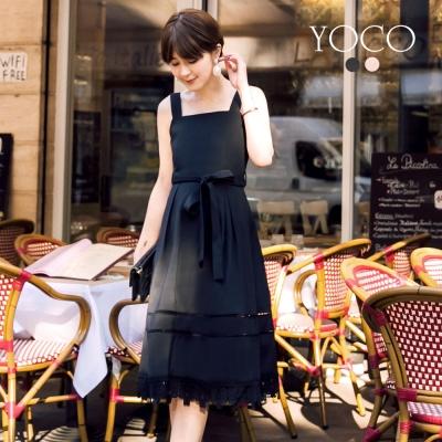 東京著衣-yoco安琪聯名法式赫本蕾絲下擺綁帶洋裝-XS.S.M.L(共二色)