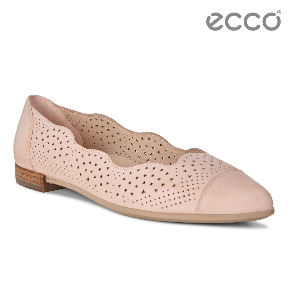 ECCO SHAPE 女 雕花蕾絲氣質娃娃鞋-裸粉