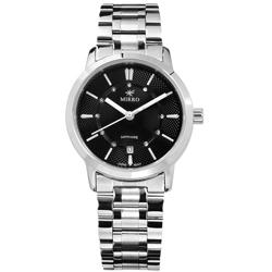 MIRRO 米羅 藍寶石水晶玻璃 日期視窗 不鏽鋼手錶- 黑色/30mm