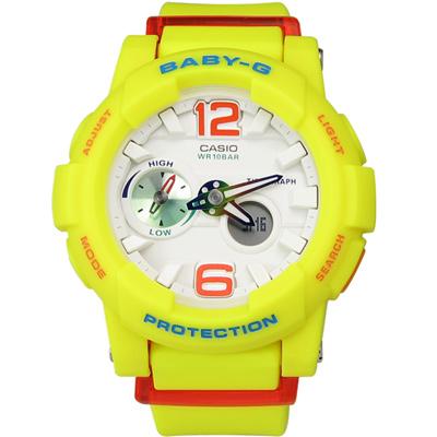 BABY-G 艷陽沙灘極限潮汐層次雙顯腕錶(BGA-180-9B)-螢光黃/44mm