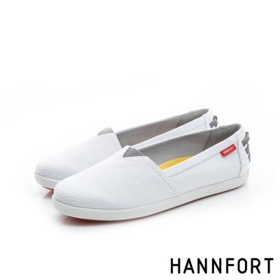 HANNFORT CALIFORNIA緹花布氣墊休閒鞋-女-簡單白