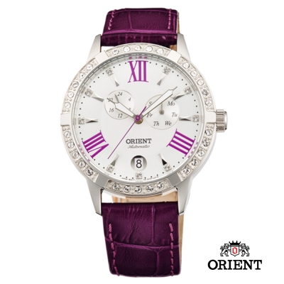 ORIENT 東方錶 ELEGANT系列 雙眼鑲鑽機械錶-白x紫色/40mm