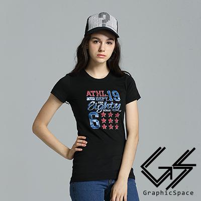 美式星星學院風磨毛水洗長版T恤 (共三色)-GraphicSpace