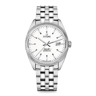 TITONI瑞士梅花錶 宇宙系列(878 S-606)白錶盤/鍊帶/41mm