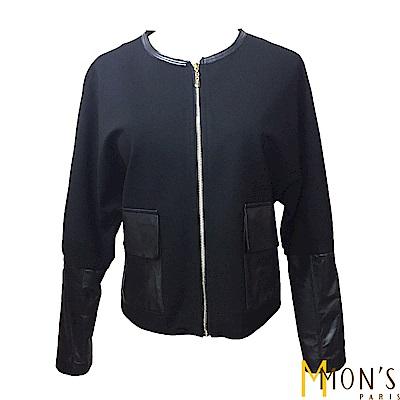 MONS-休閒羊皮拼接外套