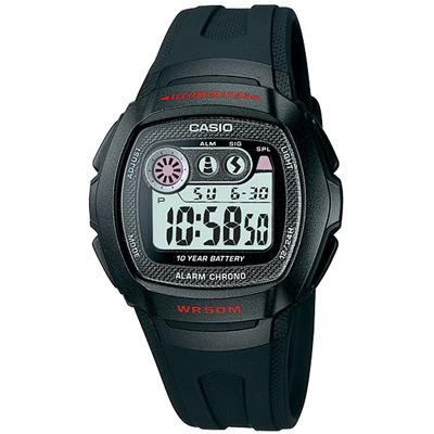 CASIO 穿梭時空兩地時間電子錶(W-210-1C)-黑框/40.9mm