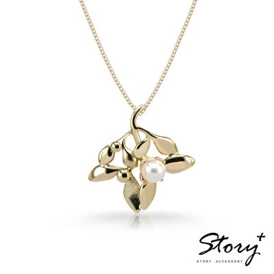 STORY故事銀飾-SNOW系列-Mistletoe槲寄生天然珍珠項鍊(大)黃K金