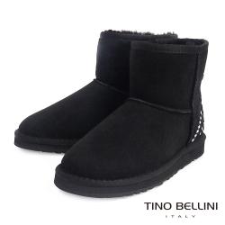 Tino Bellini 雪地精靈圖騰真皮短筒雪靴_黑
