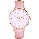 PICONO Amour 系列粉色真皮手錶