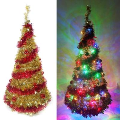 120cm浪漫裝飾彈簧摺疊聖誕樹(紅金裝飾色系LED100燈-彩光)