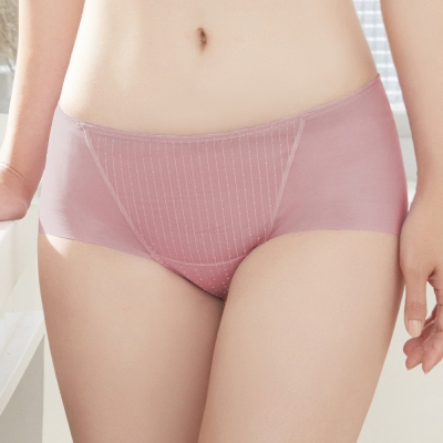 推Audrey-提花舒波-中腰平口褲-芋粉色