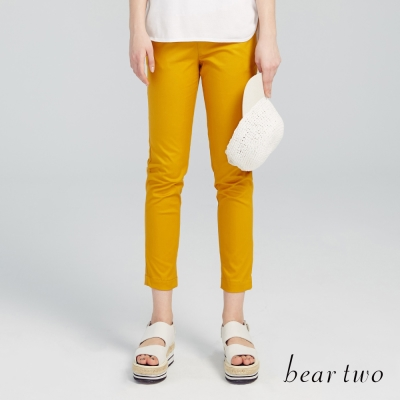 beartwo 彈性七分休閒褲(黃色)-動態show
