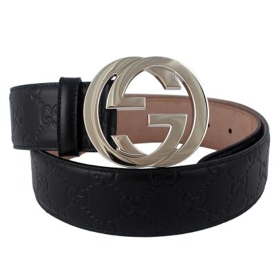 GUCCI Guccissima 雙G釦環牛皮壓紋皮帶(黑色/95cm)