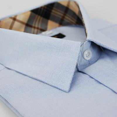 金‧安德森 經典格紋繞領藍色白綴短袖襯衫