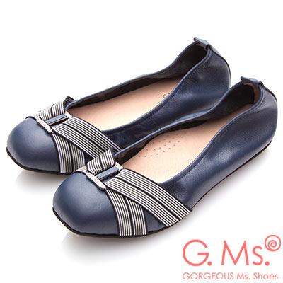 G.Ms. MIT系列-牛皮方頭鬆緊帶鑽飾娃娃鞋-藍色