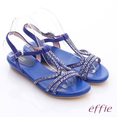 effie 輕量樂活 絨面羊皮水鑽T字平底涼鞋 藍