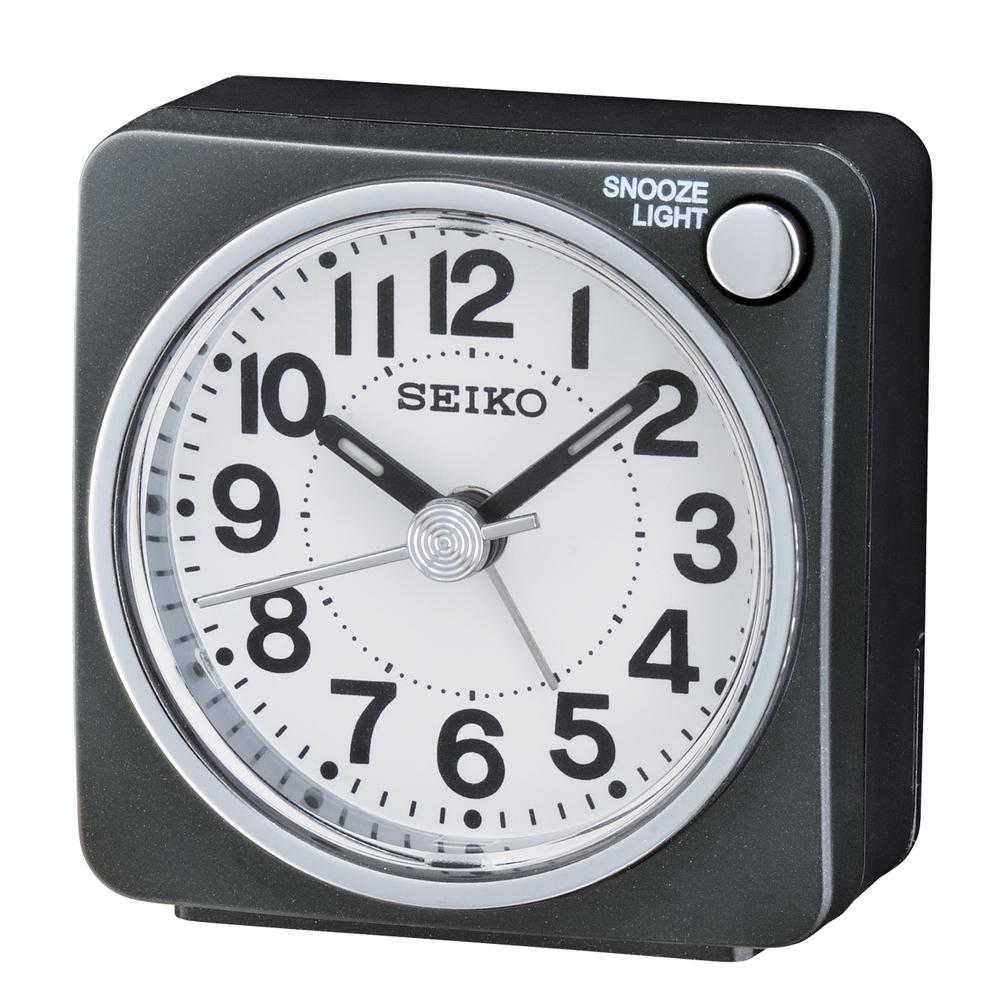 SEIKO 精工 嗶嗶聲 靜音 貪睡鬧鐘(QHE118K)-黑/5.8X5.7cm