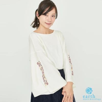 earth music 刺繡花朵寬袖剪裁上衣