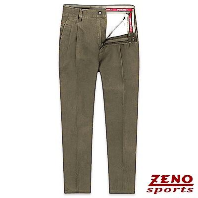 ZENO 經典彈性棉柔打摺休閒長褲‧咖啡色30-42