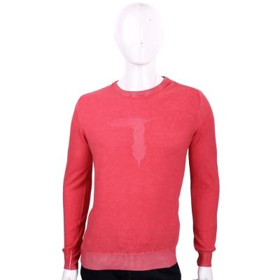 TRUSSARDI 紅色浮雕LOGO針織圓領長袖上衣