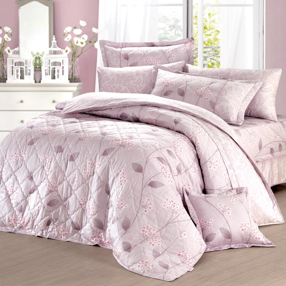 法國MONTAGUT - 花語飄香(紫) - 雙人加大六件式鋪棉床罩組