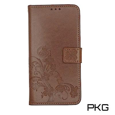 PKG OPPO R11S 側翻式皮套-精緻壓花皮套系列-幸運草-棕色