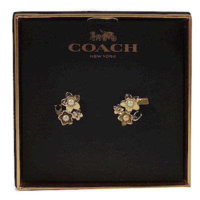 COACH 花朵珠珠造型經典耳環(金)