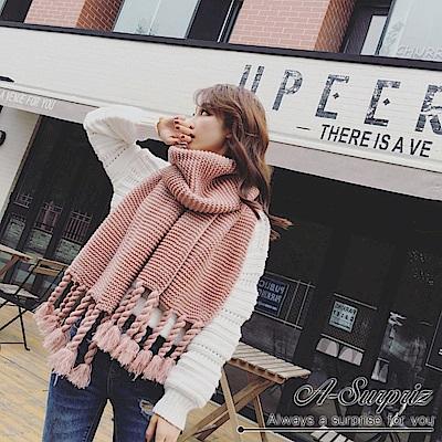 A-Surpriz 韓風辮子流蘇粗針厚織圍巾(粉)