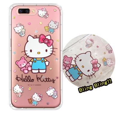 正版凱蒂貓 OPPO R11 5.5吋 夢幻童話 彩鑽氣墊手機殼(愛戀小熊)