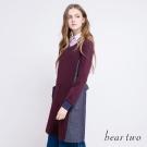 beartwo 緹織拼接丹寧綁帶修身洋裝(二色)-動態show